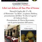 """Martedì 6 luglio terzo appuntamento con """"Libri nei dehors a San Pier d'Arena"""" al ristorante """"La Botte"""""""